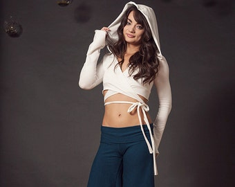 Wrap Top with Sleeves and Hood, Tie Top, Crop Top, Belly Dance Top, Yoga Top, Yoga Wear, Hoop Clothes, Festival Clothes, Larp, Cosplay