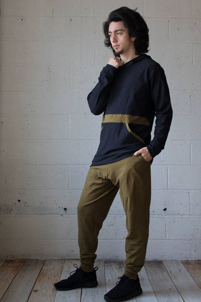 Men/'s Wear Hemp Clothing Men/'s Yoga Burning Man Men/'s Pocket Pullover Kangaroo Pocket Men/'s Hoodie Men/'s Pullover Festival Wear