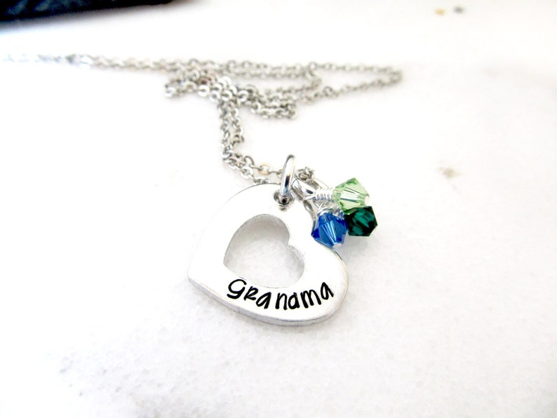 Grandma Heart Necklace  Hand Stamped Personalized Birthstone image 0