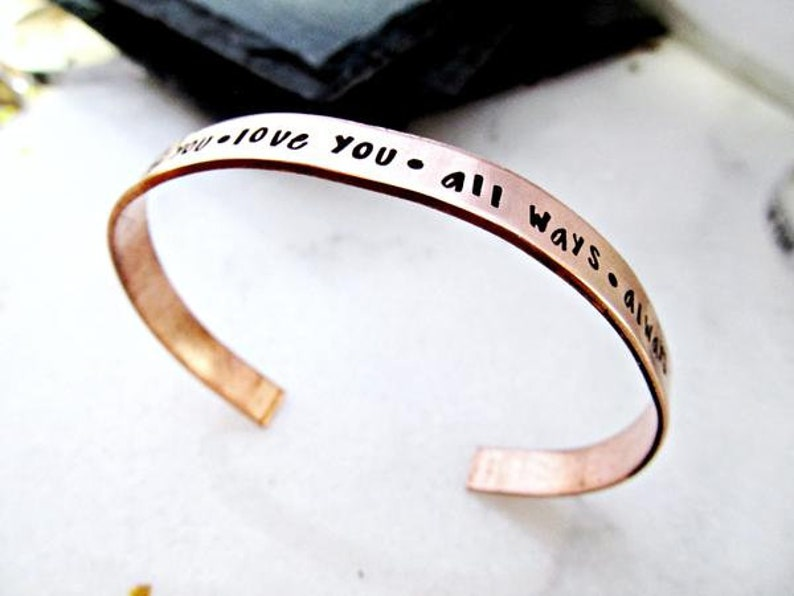 Mantra Cuff in Copper  be you love you all ways always  image 0