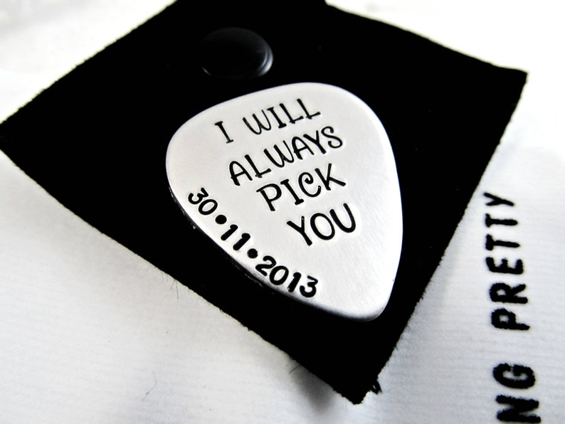 Personalized Metal Guitar Pick  Stocking Stuffer Ideas image 0