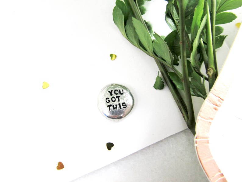 YOU GOT THIS Inspirational Pocket Pebble  Hand Stamped image 0