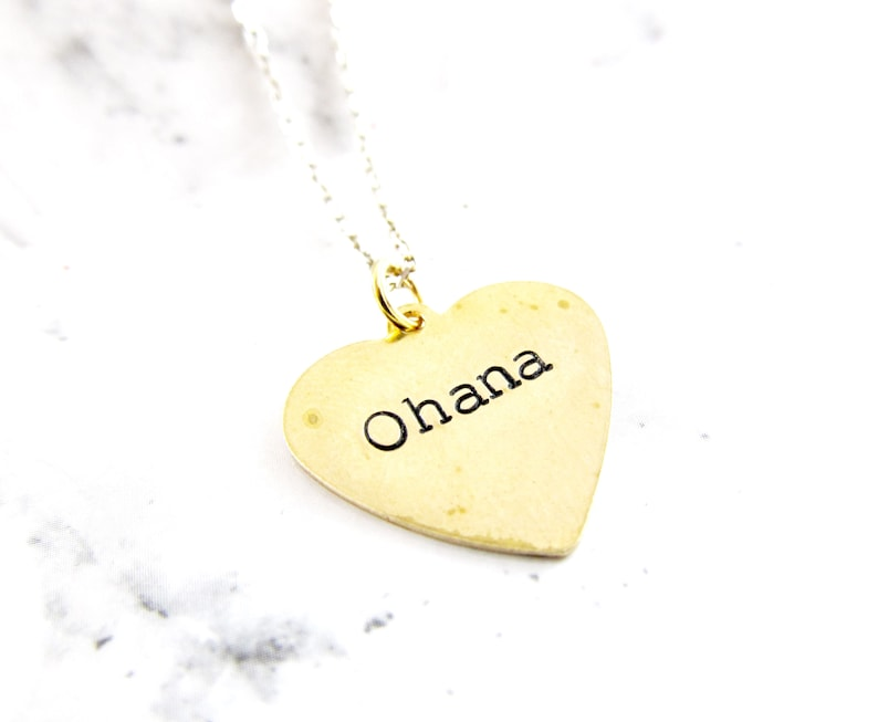 OHANA Family Necklace  Small Brass Heart Charm  Minimalist image 0