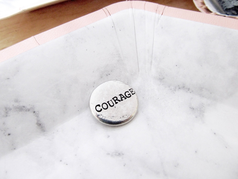 COURAGE Pocket Pebble  Custom Quote Decor  Inspirational image 0
