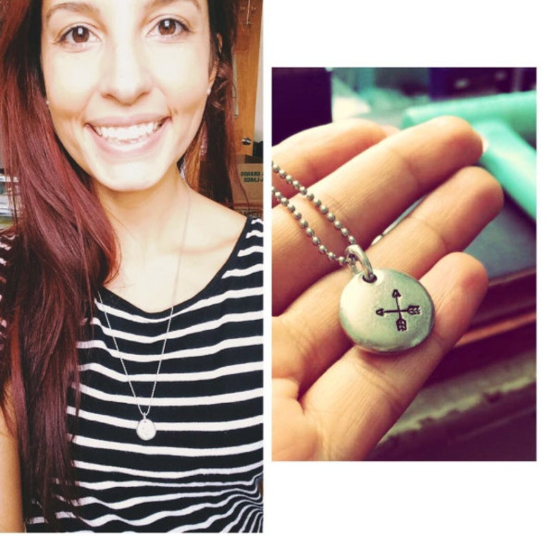Follow Your Arrow Pewter Pebble Necklace for Her  Stainless image 0