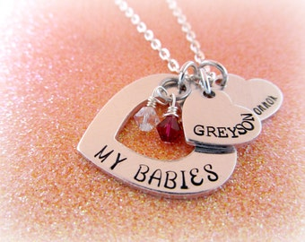 My Babies Birthstone Necklace - Hand Stamped Heart Birthstone Jewelry - everythingprettyshop - Mother's Necklace