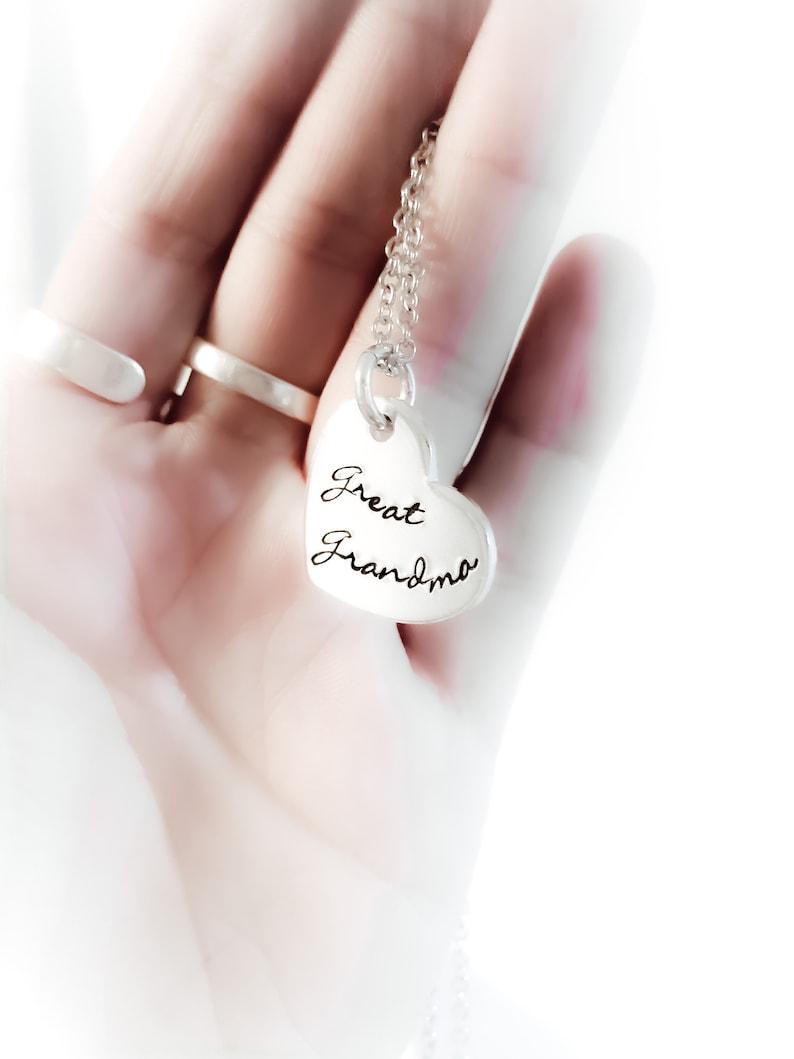 Great Grandma Necklace  Grandmother Heart Jewelry Memorable image 0