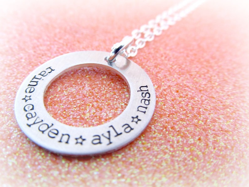 Personalized Star Name Necklace Silver Mom Jewellery Handstamped Custom Jewelry by Everything Pretty Little Loves Above the Stars