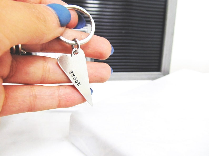 Personalized Skinny Heart Keychain Truly One of a Kind  image 0