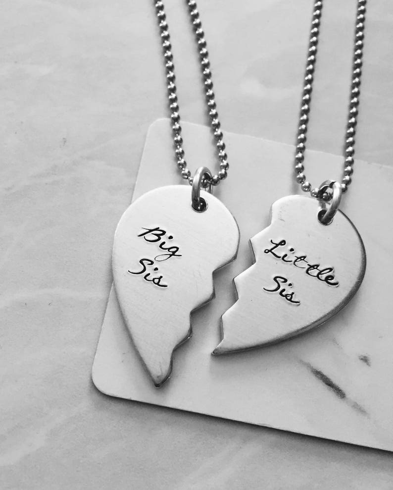 Big Sis Little Sis Heart Necklaces  Silver Sister Jewelry Set image 0