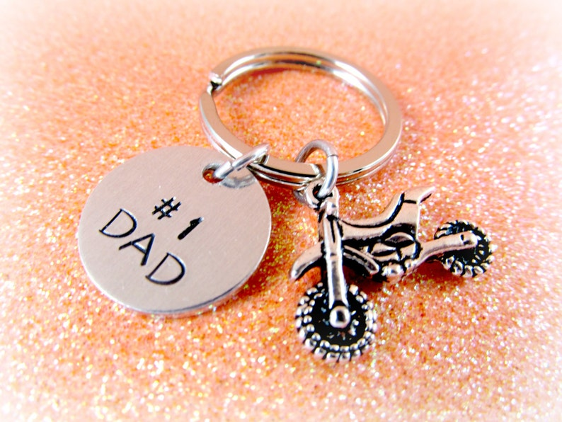 Motocross 1 Dad Keychain for COOL DADS  Custom Men's image 0