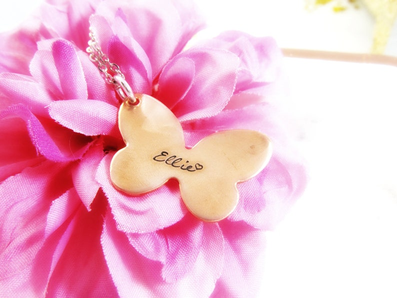 Butterfly Name Necklace  Copper x Silver Jewelry for Kids  image 0