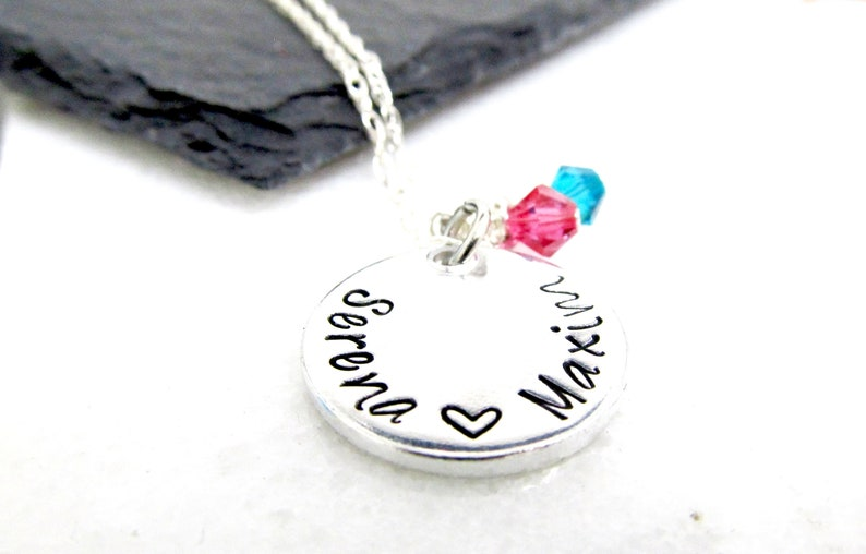 Mother's Necklace with Children's Names  Hand Stamped image 0