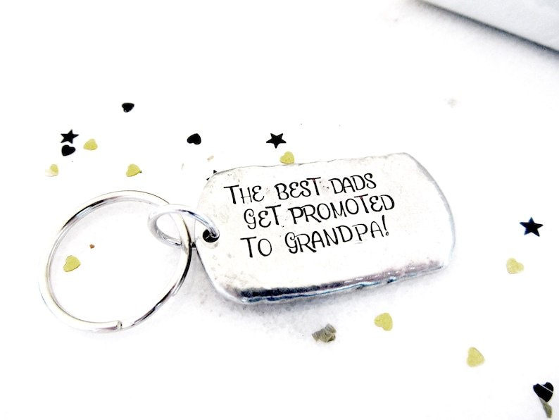 New Grandpa Dog Tag Keychain  the best dads get promoted to image 0