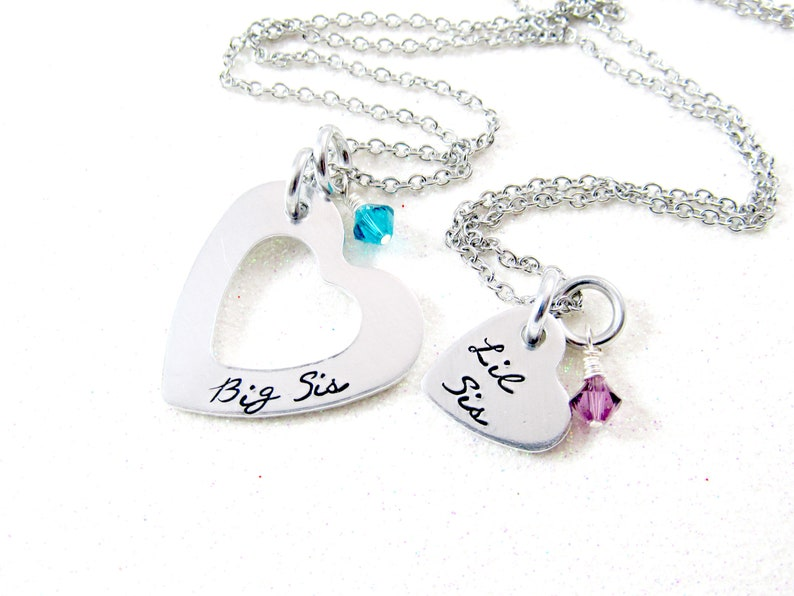 Sister Heart Necklaces w/ Genuine Swarovski Birthstones  image 0