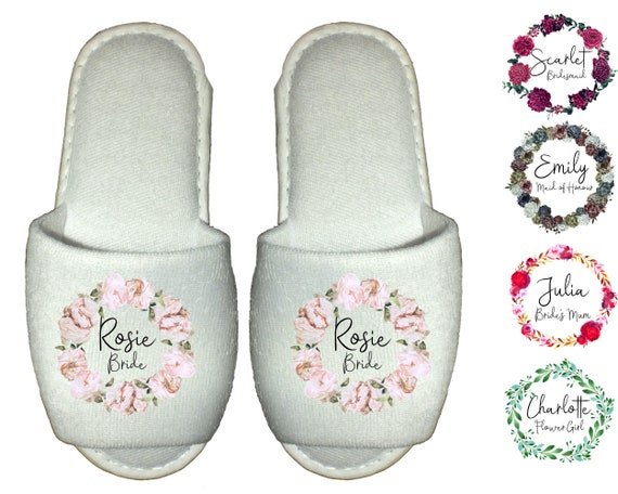 Crystal Rhinestone open toe mother of the bride hen party Bride Spa Slippers Personalised gift for wedding guest,bridesmaid Diamante