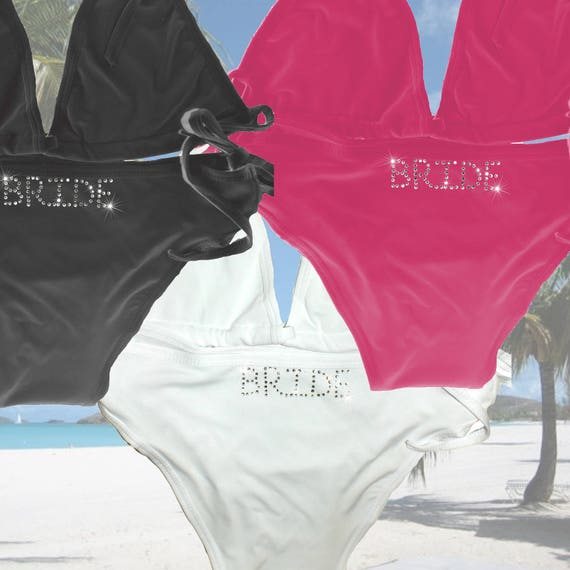 34fad423bf Personalised Bikini White Black Hot Pink Wedding Mrs