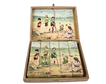 Vintage French Wood Block Story Puzzle