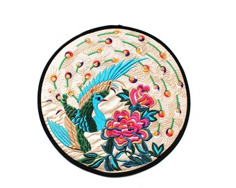 Vintage Peacock Embroidery Fabric Circle
