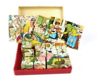 Vintage Storybook Puzzle Blocks