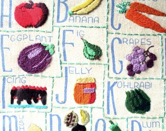 Vintage Alphabet Fruit / Vegetable Kitchen Needlepoint Artwork