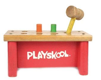 Vintage Playskool Wood Pounding Bench