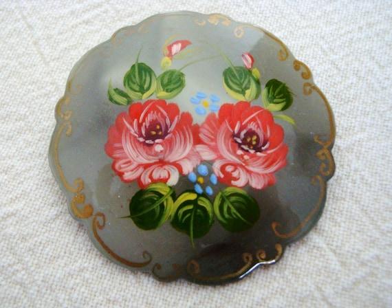 Vintage Russian Brooch - Hand Painted Russian Broo