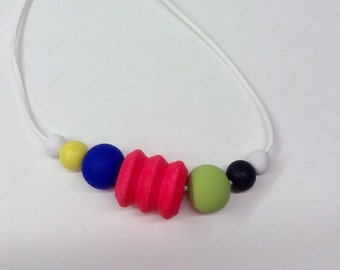 Hand painted wood bead necklace/lime green/neon hot pink/yellow/white/black/royal blue/funky