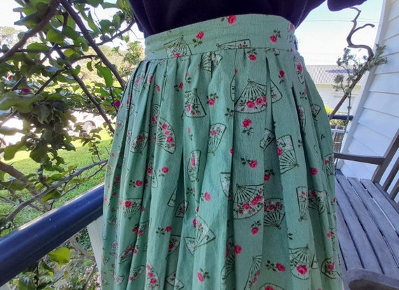 Vintage Volup 1950s Full Novelty Print Cotton Skir