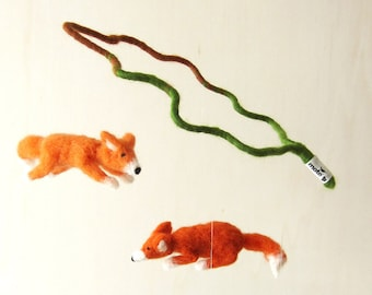 flying foxes - decorative mobile - needle felted Baby Crib Mobile, Nursery Decor, Baby Shower Gift , woodland, waldorf