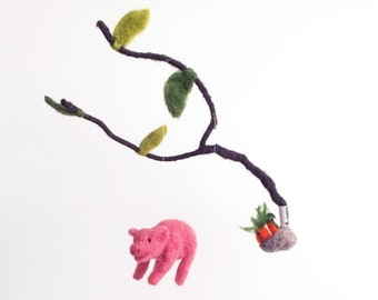 flying pink pigs under a tree - decorative mobile - needle felted Baby Crib Mobile, Nursery Decor, Baby Shower Gift, waldorf, farm animals