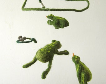 flying green frogs - decorative mobile - felted Baby Crib Mobile, Nursery Decor, Baby Shower Gift, waldorf, lake story