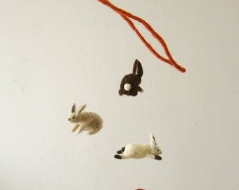 flying rabbits catching carrots - decorative mobile - needle felted Baby Crib Mobile, Nursery Decor, Baby Shower Gift