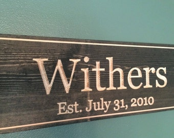 Engraved Wooden Sign Personalized with Family Name Wedding and Anniversary Date