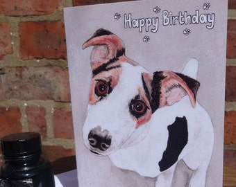 Jack Russel birthday card - hand-painted illustration - indian ink painting for dog lovers and animal lovers - dog birthday card