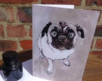 Pug card - Pug birthday card - pug gift - dog birthday card - painting printed on high quality 100% recycled card - for dog and pug lovers