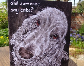 Dog birthday card - Golden Cocker Spaniel dog card / Spaniel birthday card - indian ink painting for dog lovers - greedy dog