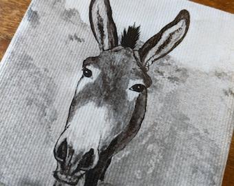 Donkey coaster - Canvas print and ceramic tile coaster featuring original artwork
