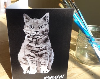 Cat card - meow - Cat painting greeting card, cat birthday card, for cat and animal lovers - cat gift for cat lovers