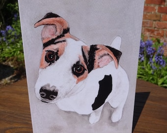 Jack Russell Terrier greeting card - for any occasion, indian ink painting for animal lovers - dog birthday card - 100% recycled card