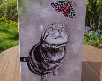 Tabby cat greeting card - Cat birthday card, Tigers in the Garden - Cat and moth indian ink painting for cat lovers - 100% recycled card