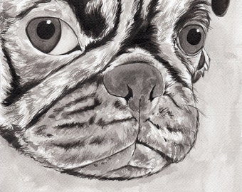 Pug print  - Pug and a Bug - high quality pug gift for pug lovers - dog lover gift - Mounted A5 Giclée Fine art print of Indian ink painting