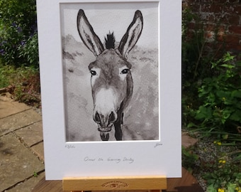 Donkey art - lovely donkey gift for donkey lovers - Ormer the Guernsey donkey gift Fine art print of Indian ink painting for animal lovers