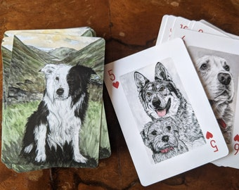 Dog Playing Cards, Pack of Dogs Playing Cards, Dog lover gift - dog gift - dog art, 52 dog portraits - unique dog gift, unique playing cards