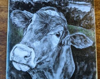 Cow coaster - Canvas print and ceramic tile coaster featuring original artwork