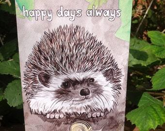 Hedgehog card - Snail card - happy days - hedgehog birthday card - hedgehog gift - hedgehog painting for hedgehog lovers