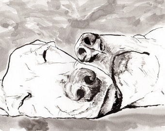 Labrador art - Sleeping Dogs - lovely dog gift for dog lovers - Dog Fine art print of Indian ink painting for animal lovers