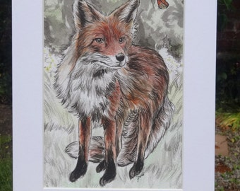 Fox Print - Fox Art - Fox and Butterfly print - lovely fox gift - fox lover mounted A5 Giclée Fine art print of Indian ink painting