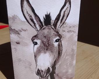 Donkey card - donkey birthday card - Guernsey Donkey card for any occasion, donkey gift - donkey art - donkey lover - 100% recycled card