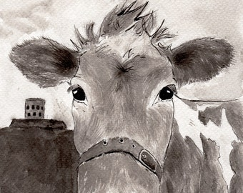 Guernsey Cow Print - Cow artwork - high quality cow gift for cow lovers,Fine art print of Indian ink painting
